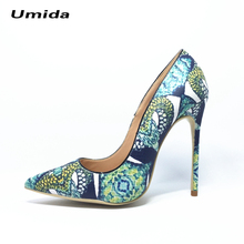 Umida Brand Sexy Snake Printed Women Pumps Plus Size 33-44 High Heels Hot Fashion Women Shoes 12CM Luxury Designer Leather Shoes
