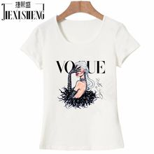 2017 New Women T Shirt VOGUE Beauty 3d Print Cotton O-Neck Tops Tees Summer Style Female T-Shirt fashion ladies funny Clothes(China)