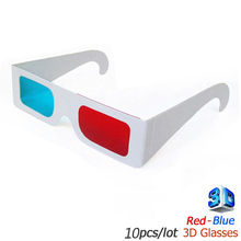 10pc / lot Universal Paper 3D Glasses 3d virtual video View Anaglyph Red Cyan Red/Blue 3d Glass For Movie
