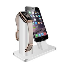 2 Stand Aluminum Charging stand Dock Station Support For Apple Watch NightStand Mode for iPhone 5/6/ 7 Plus FreeShipping Sliver(China)