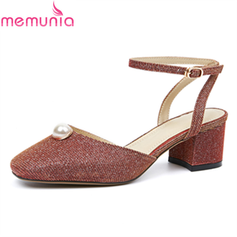 MEMUNIA new hot sale spring autumn high quality slingbacks women pumps thick high heels square toe buckle sweet party shoes<br>