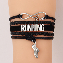 Drop shipping Infinity Love RUNNING Team sports Bracelets & Bangles Customize Wristband sneaker charm friendship Jewelry Gifts