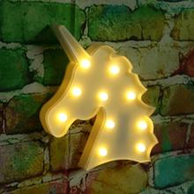 Unicorn Shaped Night Lights Lamp 3D White Marquee Unicorn Sign Marquee Letter Nightlight Home Decoration Battery Operated