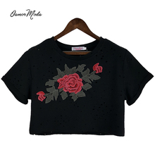 2017 New Hole Crop top Flowers T Shirt Women Fshion hole embroidery short T-shirt