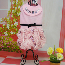 Lovely dogs cats lace flower princess dress doggy fashion spring summer dresses clothes puppy party dress clothing 1pcs S-XL(China)