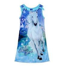 2016 Fashion Summer Children Kids Girls Belle Horse Magic Pattern Sleeveless Long Casual Dress Sundress 4-12Y