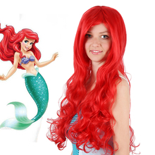 High Quality Anime,Cartoon The Little Mermaid Princess Cosplay Wigs Halloween Wig Party Stage Carnival Long Red Curly Hair New(China)