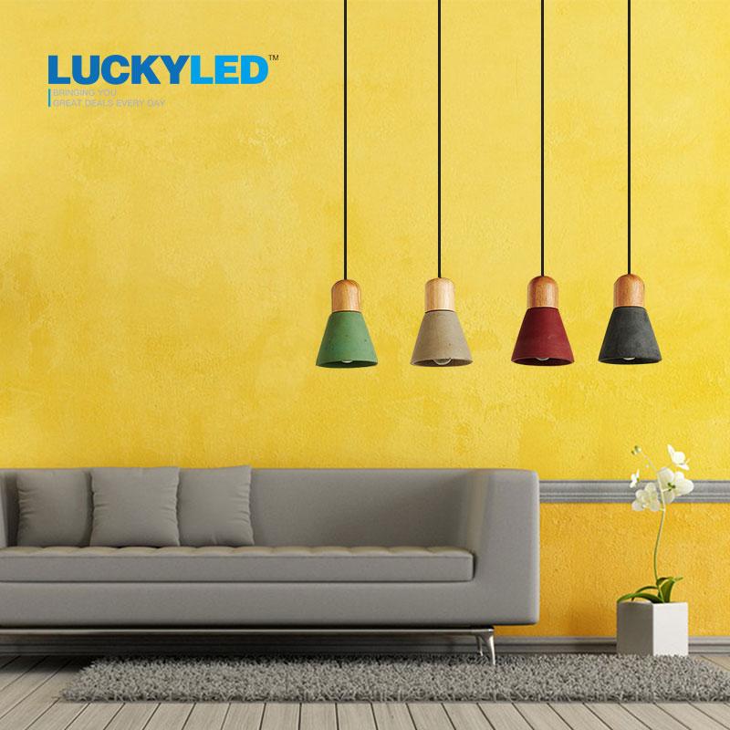LUCKYLED pendant lights wood E27 / E26 socket vintage cement pendant lamp for dining room modern indoor Decoration Droplight<br>