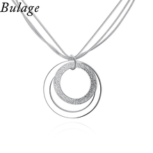 Bulage Necklace Design Of Simple Different Size Double - Layer Pendants Three Snake chains Necklace Jewelry Accessories Gift(China)