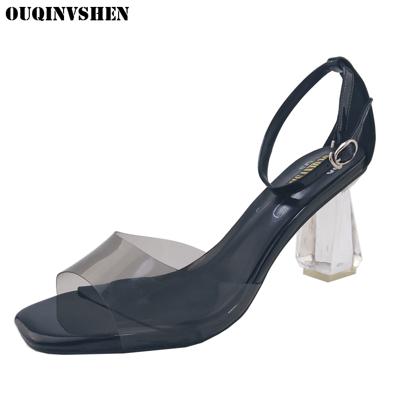 OUQINVSHE Transparent Open Toed Women Sandals 2017 Crystal Summer Sandals Square Head Ladies Girl Sandals Square heel High Heels<br>
