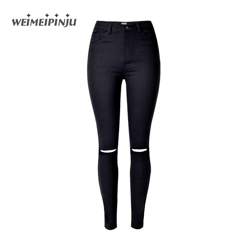 High Waist Skinny Fashion Jeans For Women Autumn Boyfriend Black Jeans Ripped Hole For Girls Slim Soft Cotton Denim Pencil PantsÎäåæäà è àêñåññóàðû<br><br>