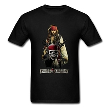 Jack Sparrow Short Sleeve Father's Day Custom Pirates of the Caribbean 5 Movie Tees Shirts Males Plus Size T Shirt