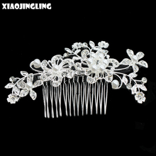 XIAOJINGLING 20 Styles European Pearl Crystal Flower Bridal Hair Comb Women Headwear Floral Wedding Crown Hair Accessories Gifts