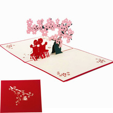 3D Pop Up Greeting Cards Cherry Tree Love Valentine Anniversary Easter Birthday Gift Postcard New XQ Drop shipping(China)