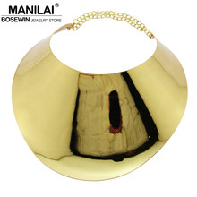 MANILAI Fashion Alloy Big Torques Statement Necklaces For Women Large Collar Choker Necklace Boho Design Steampunk Style Jewelry