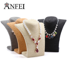 ANFEI 4 Colors 8.66*8.26inch Necklace Busts Jewelry Display With High Quality Cord Material For Women Pendant Jewelry Display(China)