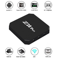 Z28 PRO Smart Android 7.1 TV Box RK3328 Quad Core 64 Bit UHD 4K VP9 H.265 USB3.0 2GB / 16GB Mini PC WiFi LAN HD Media Player