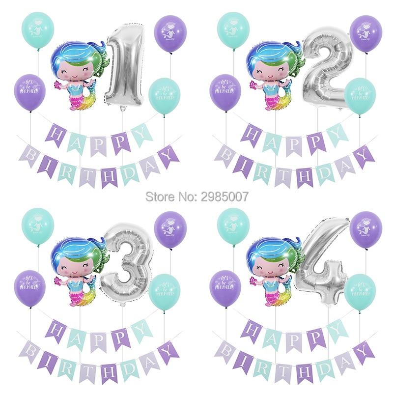 Mermaid Birthday Party Balloons Kid Girl Boy 1 2 3 4 5 6 7 8 9 Years Old 1st 2nd Digital Balloon Banners