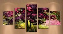 NEW 5D DIY Diamond Painting Landscape Diamond Painting Cross Stitch Red Tree 5pcs Needlework Home Decorative KJ139
