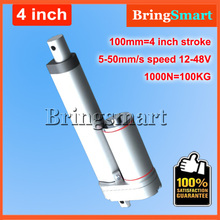 4Inch 100mm Stroke 12V DC Electric Linear Actuator 4-50mm/s 100KG Load 12-48V DC 1000N Heavy Duty Tubular Electric Motor 24V(China)