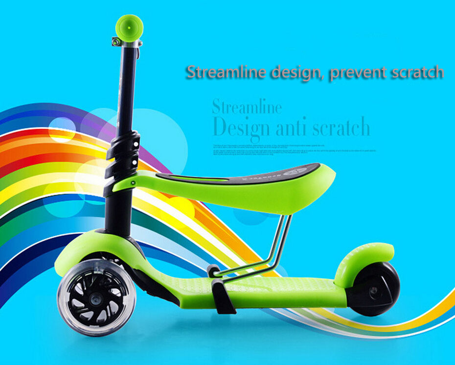 Balance scooter Children 3 wheels scooter Flash pedal multi-function walkers can sit triad seat skateboard adjustable height<br><br>Aliexpress