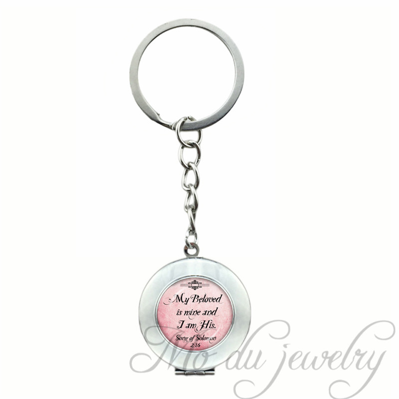 2017 Trendy Style Bible Inspirational Quote Locket Keychain Beloved Mine Dream Glass Key Chains Words Letter Key Ring
