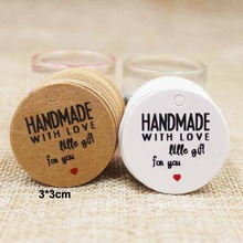 200pcs round kraft/white paper thank you tag handmade price tag label wedding favors hang tag custom logo cost extra