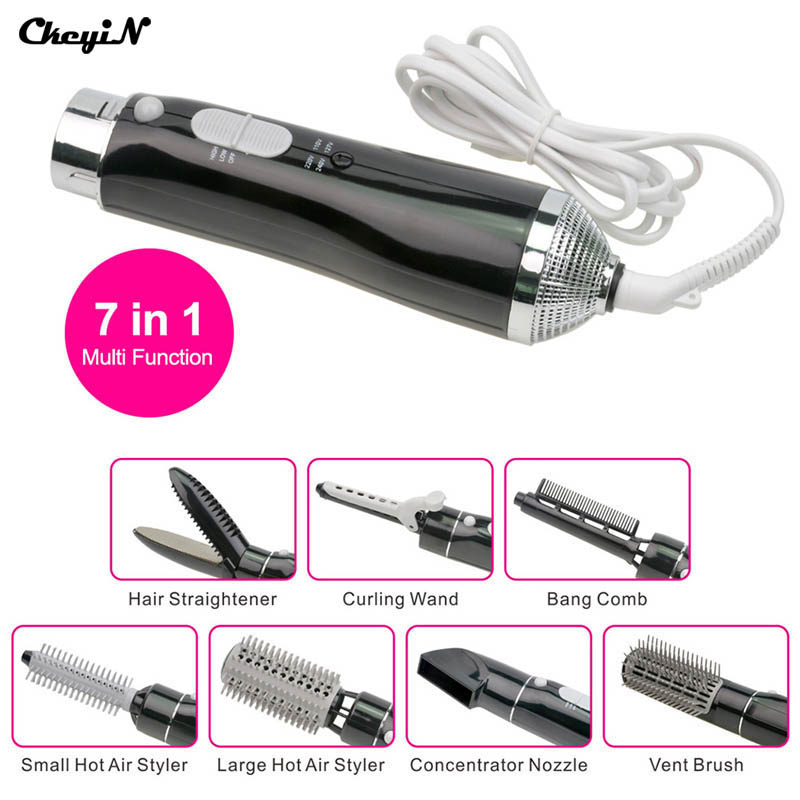 7-in-1 Professional Styling Tool Electric Curler Hair Dryer Straightener Wand Curling Irons Roller Bursh Styler Curler 4142<br>