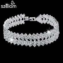 SZELAM 2016 New Rhinestone Crystal Bracelets For Women Fashion Silver Bracelets & Bangles Bridal Wedding Jewelry SBR150218
