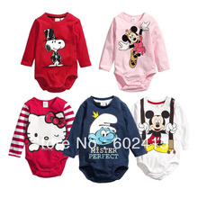 clear out baby girl's boy's Spring long sleeve triangle romper with cartoon hello kitty 11344