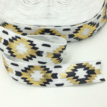"Top Quality Black Gold Foil Aztec Fold Over Elastic 5/8"" Aztec FOE Elastic Ribbon for DIY Headwear Hair Accessories 10Yards/lot"