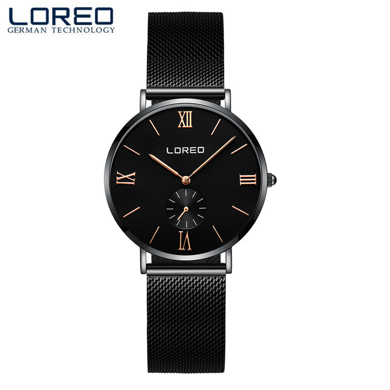 LOREO Luxury Watch Women Brand Mens Watches Ultra Thin Stainless Steel Mesh Band Quartz Wristwatch Fashion casual watches M23<br>