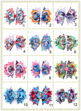 Boutique Inspired Chevron Hair Bow Princess Bottle Cap Bow Twisted Layered Chic Hairbow 3.5 inch