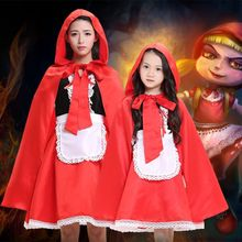 2017 new arrival children girl Little Red Riding Hood cosplay dress princess halloween costume DS clothing for adult kids(China)