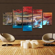 BANMU Landscape waterfall Canvas Painting Wall Art Home Decoration Art Maple Trees Modular Pictures Painting On The Wall(China)