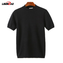 LiSENBAO 2017 New Arrival O Neck Sweater Men Clothing Knitted Silk Cotton Short sleeve Pullover Men Slim Fit Bottoming shirt K30(China)