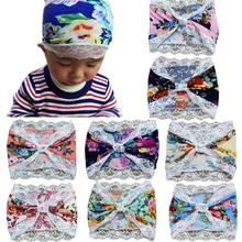 Adorable Fashion Girls Kids Bowknot Elastic Cloth Lace Bowknot Headband turbante hair accessories hair bows festival Party(China)