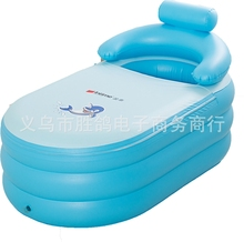 wholesale adult children keep warm Portable Inflatable bath tub folding Thickening family Bathtub 142x84x64CM(China)