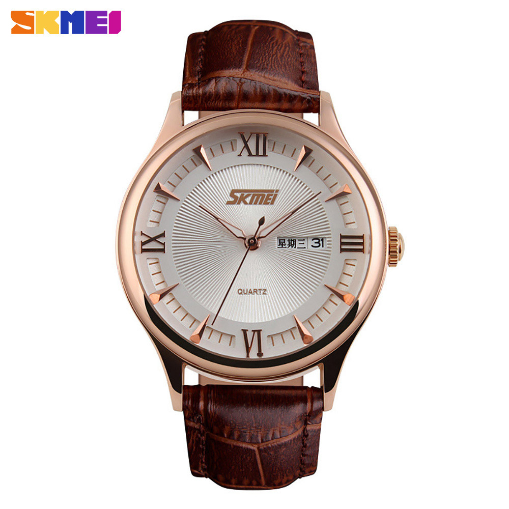 SKMEI 9091 Mens Automatic Watch Mens Fashion Leather clock top quality famous china brand waterproof luxury military vintage<br><br>Aliexpress