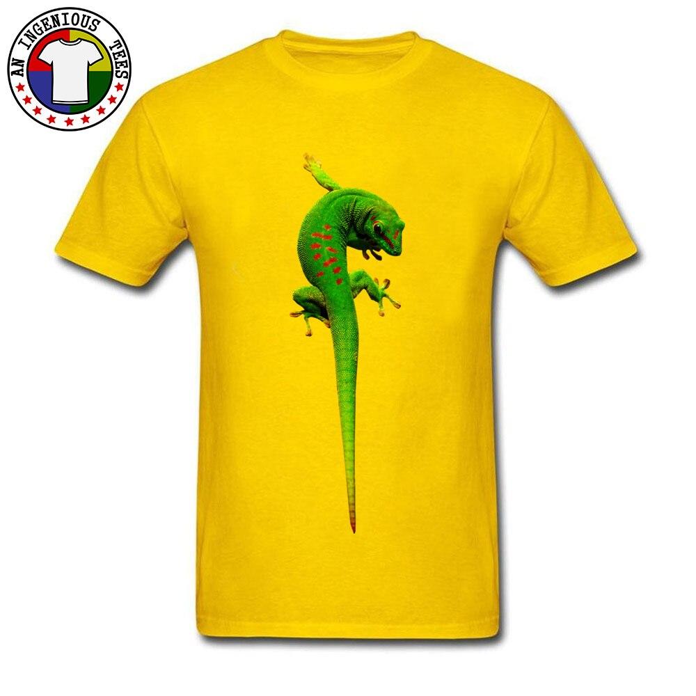 gecko O-Neck T-shirts Summer Fall T Shirt Short Sleeve 2018 Fashion Cotton Fabric Summer Tee Shirt 3D Printed Male gecko yellow