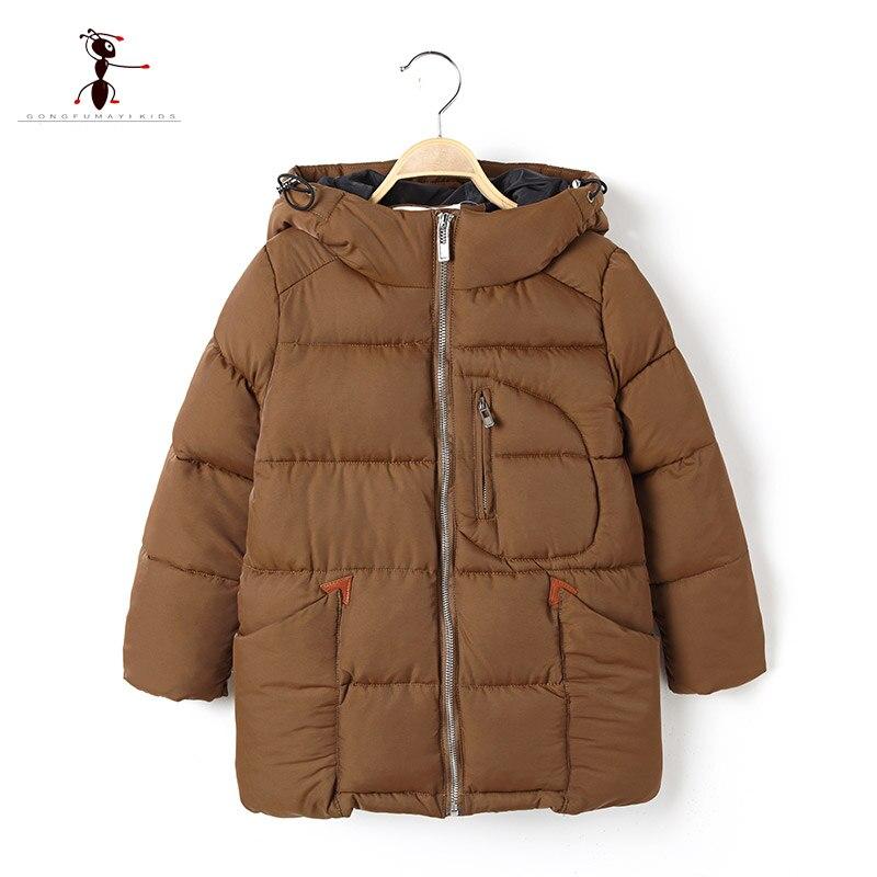 Fashion Warm Cotton Boys Hooded Full Sleeve Children Winter Coat 2 Colors in 2017 Hot Zipper Cute Long Jacket 2601<br><br>Aliexpress