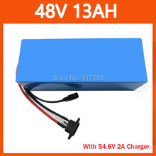 High Quality 750W 48V 13AH Lithium battery 48V 13S electric bike battery 48 V Scooter battery with 54.6V 2A Charger 20A BMS