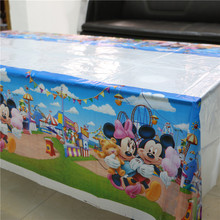 180*108cm Cartoon Mickey&Minnie Mouse Plastic Tablecloth Kids Boys Birthday Party Disposable Plastic Tablecover Supplies 1Pcs