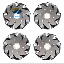 Official iSmaring 100mm Aluminum Mecanum Wheels Set Basic ( 2 Left, 2 Right) for robot car 14162 Diy Wheeled Robotic Car Chassi(China)