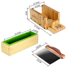 3pcs/Set D0019 Silicone Liner Mold With Wood Box,Stainless Steel Soap Loaf Cutter,Wooden Soap Cutter Box