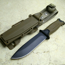 Brown Color Hunting Knife for camping tools Tactical knives Full or Serrated Fixed Blade Knife + Sheath!(China)