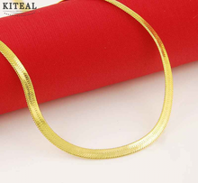 Men fashion jewelry 24k pure gold color 4mm snake flat chains length 50cm necklaces  choker joyas