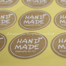 180pcs/lot 35*35mm 3.5cm Round White Hand Made Stickers Kraft Label Sticker DIY Handmade For Gift Cake Baking Sealing Sticker(China)