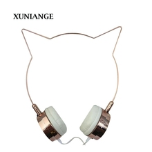 2017XUNIANGE original design mili Cat ears headphones with gold plated bass headset For IPhone Android Smartphone CP notebook(China)
