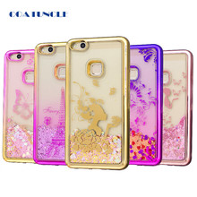 Soft TPU Phone Case For Huawei P10 Lite Plating shell Case Dynamic Bling Liquid Glitter Quicksand Back Cover For Huawei P10 Lite(China)